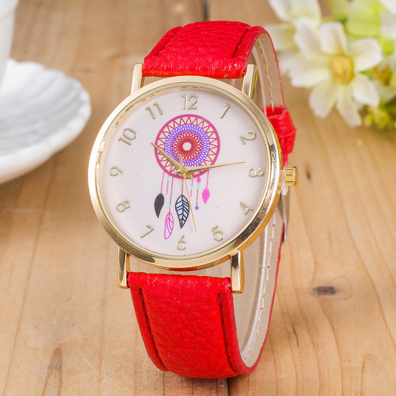 Classic Dreamcatcher Print Leather Watch