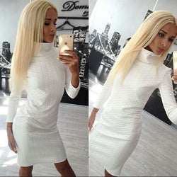 Casual High Neck Twist Long Sleeve Bodycon Short Dress