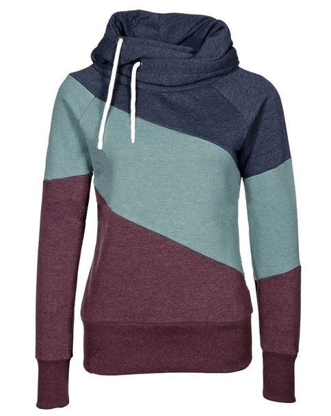 Color Block Patchwork High Neck Sport Hoodie - May Your Fashion - 5