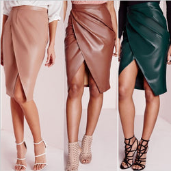 PU Patchwork Split Bodycon Irregular Long Skirt