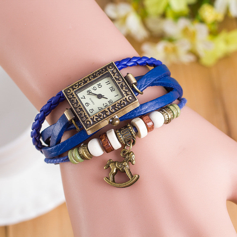 Retro Square Dial Horse Bracelet Watch