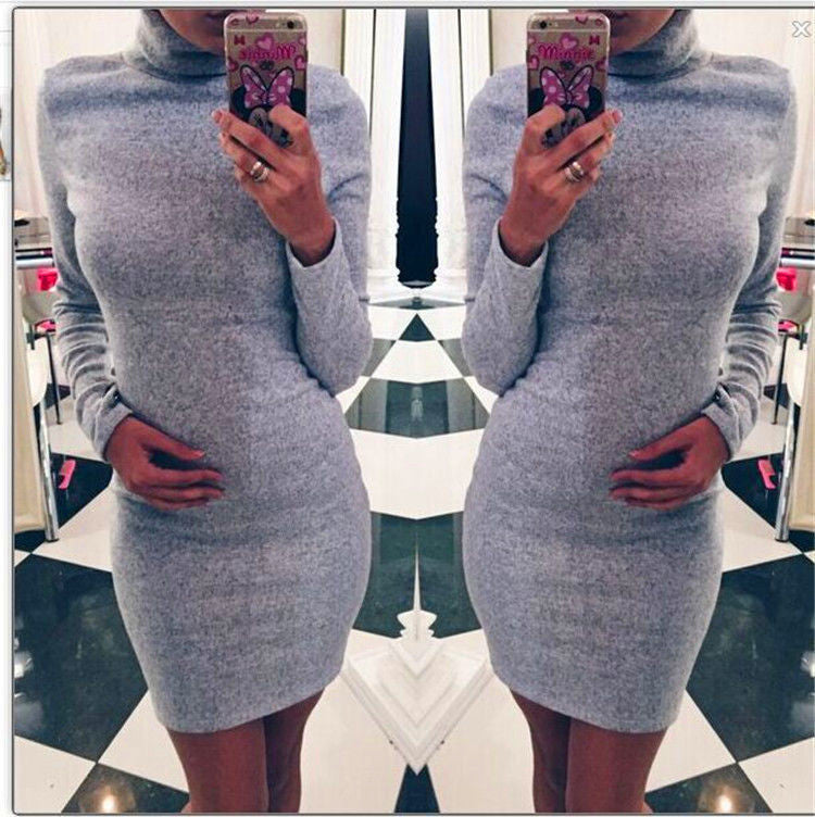 Fashion Sanding High Neck Long Sleeve Bodycon Short Dress