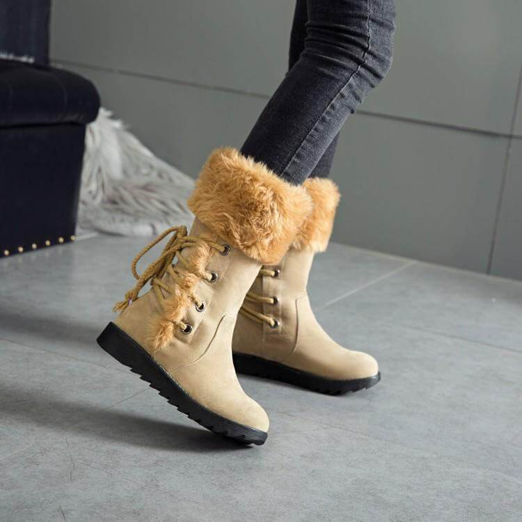 Fur Lace Up Flat Suede Calf Boots