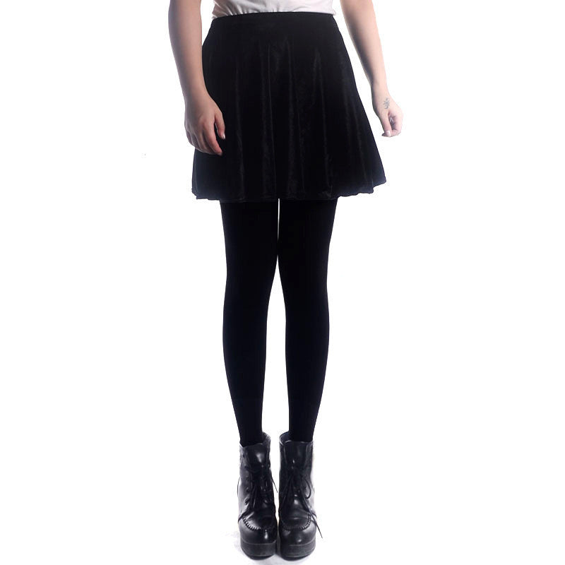 Retro Style Velvet A-Line Flared Short Skirt
