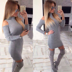 High Neck Long Sleeve Stretchy Ribbed-Knit Bodycon Short Dress