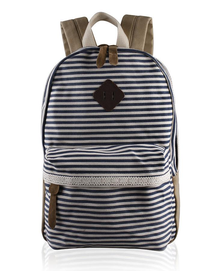 2016 Classical Stripe Lace Canvas Backpack - Meet Yours Fashion - 4