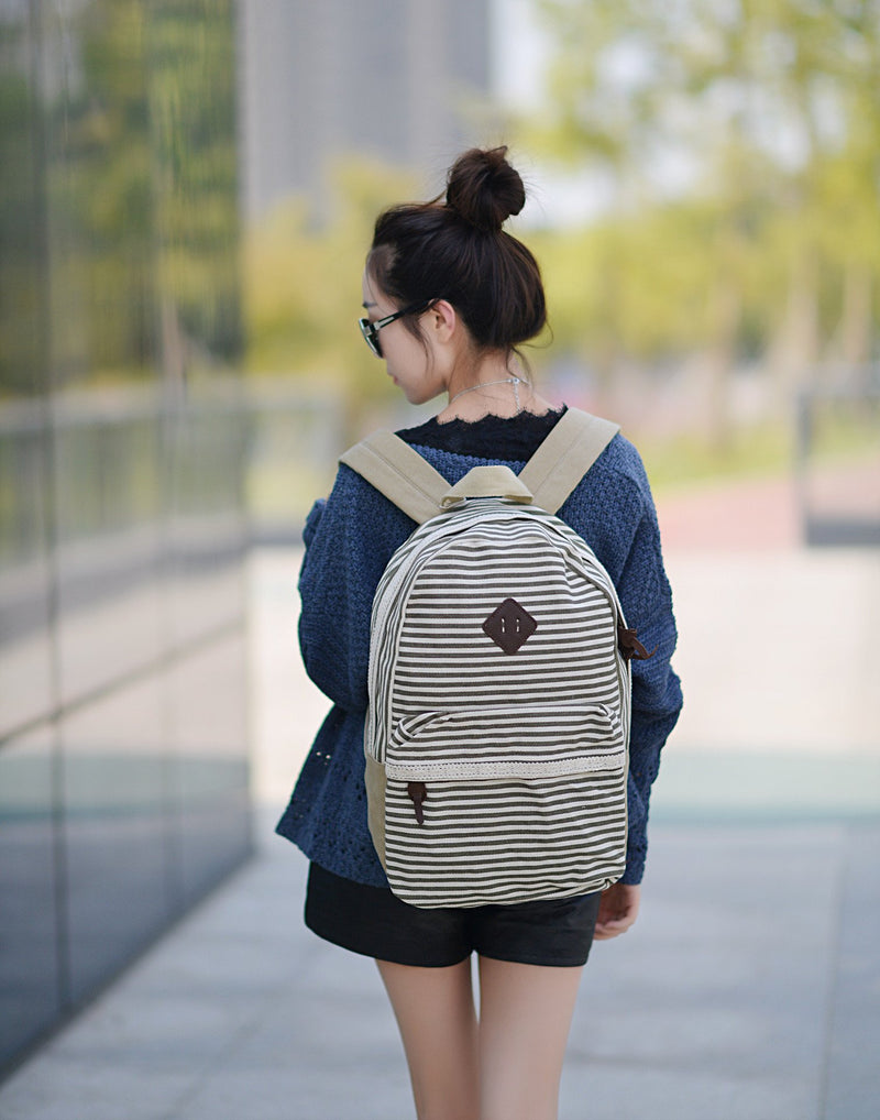 2016 Classical Stripe Lace Canvas Backpack - Meet Yours Fashion - 8