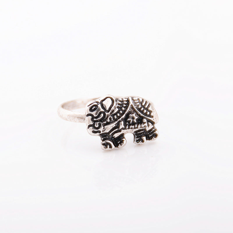 Fashion Punk 3D Digital Elephant Free Combination Ring