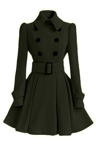 Free Shipping Clearence Flared Hem Turn-down Collar Slim Double Button Wool Coat With Belt on