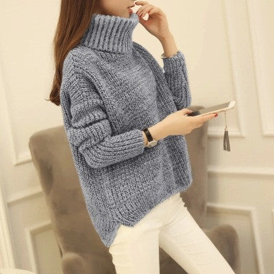 High Neck Knitting Irregular Hem Sweater