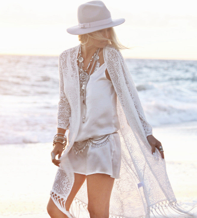 White Lace Tassels Long Cover Up Beach Cardigan Dress