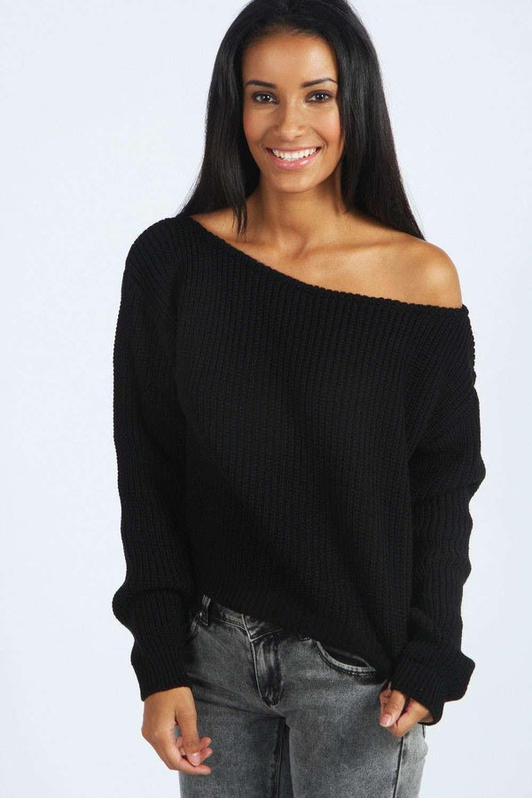 Off Shoulder Pullover Knit Loose Pure Color Sweater - May Your Fashion - 1