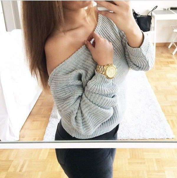 Off Shoulder Pullover Knit Loose Pure Color Sweater - May Your Fashion - 2