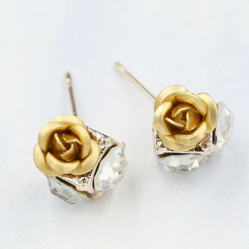 Ceramic Roses Diamond Earring