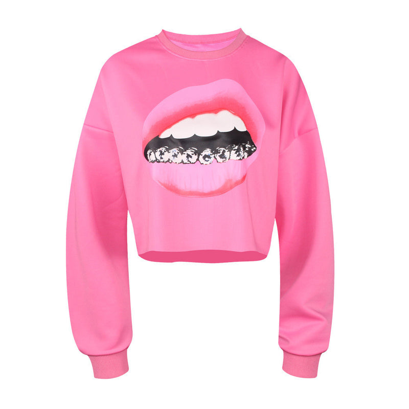 Casual 3D Mouse Tooth Print Long Sleeves Crop Top