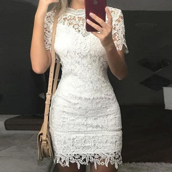 Lace Lined Bodycon Short Dress
