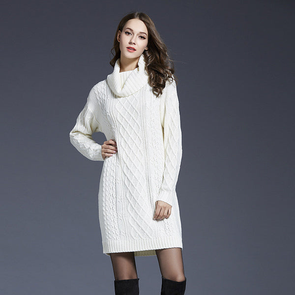 Turtle Neck Knitting Long Sweater Dress