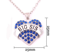 BIG SIS Print Heart-Shaped Crystal Pendant Jewelry Necklace