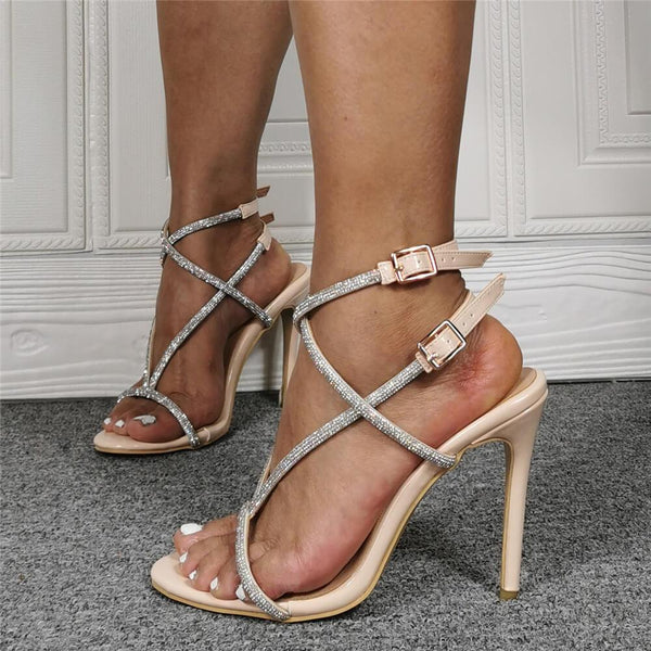 Summer Apricot Rhinestone PU Open Toe High Heel Sandals