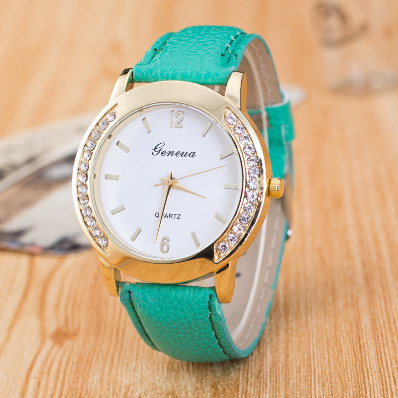 Classic Crystal Leather Watch