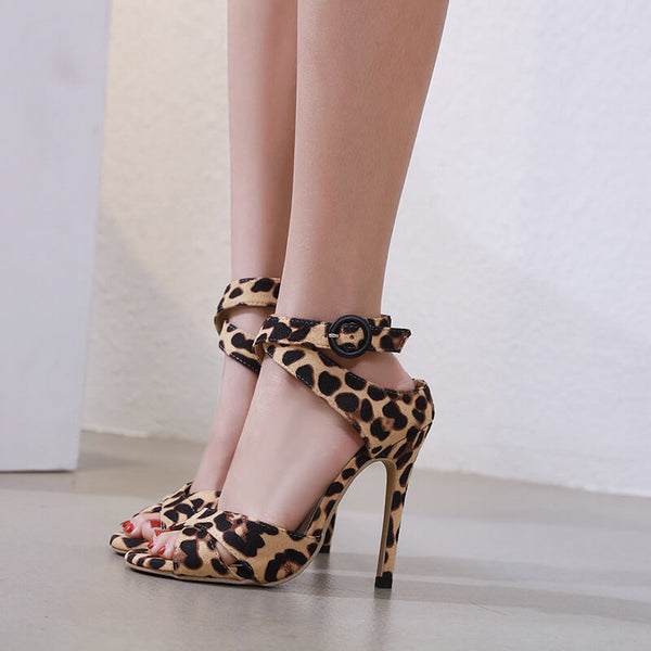 Leopard High Heel  Buckle Sandals