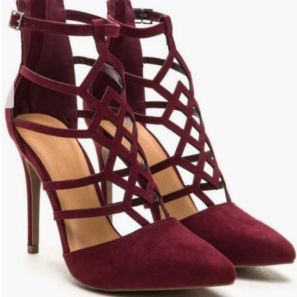 Red Pointed Toe Cutout Buckle Suede High Heels