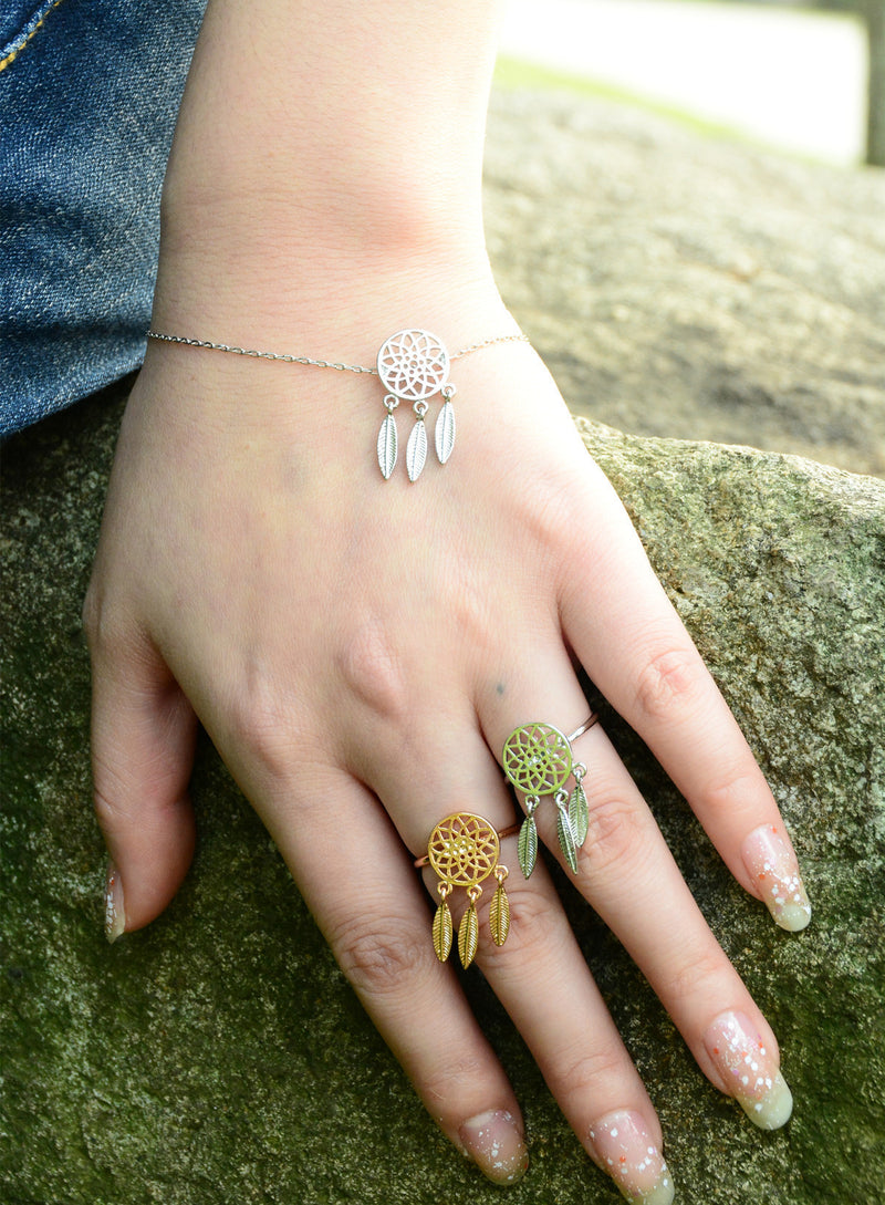 Dreamcatcher Hollow Out Feather Earring Ring Bracelet Necklace