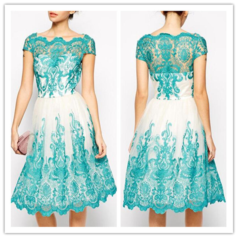 Sexy Hand Embroidery Lace Short Dress