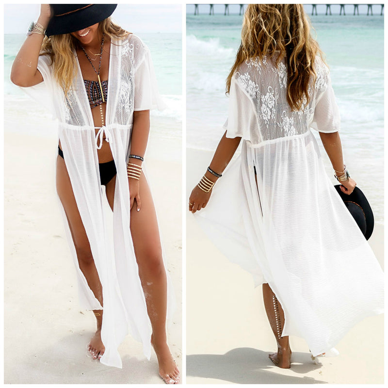 White Split Draw String Long Beach Cover Up Dress