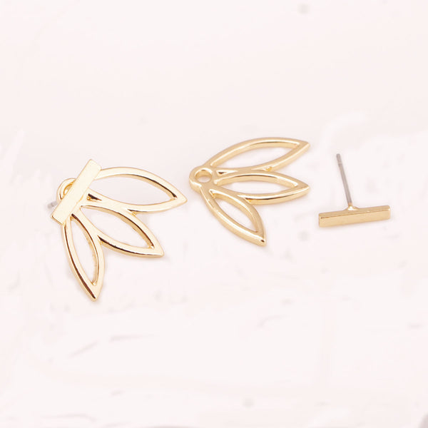 Hollow Out Lotus Lady's Stud Earrings