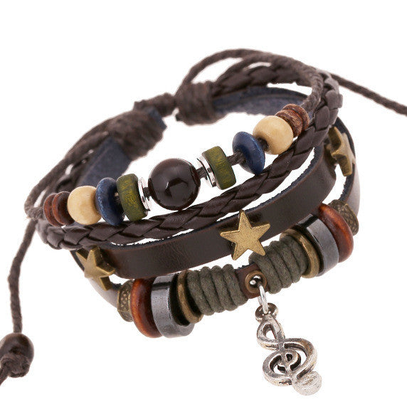 Alloy Note Star Beaded Leather Bracelet