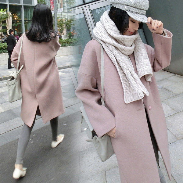 Dropped Shoulder Solid Split Loose Long Coat - May Your Fashion - 2