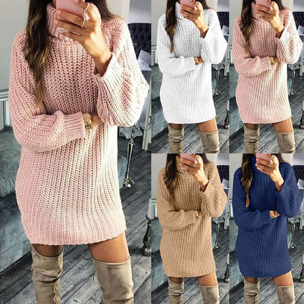 Turtleneck Loose Soild Sweater Dress