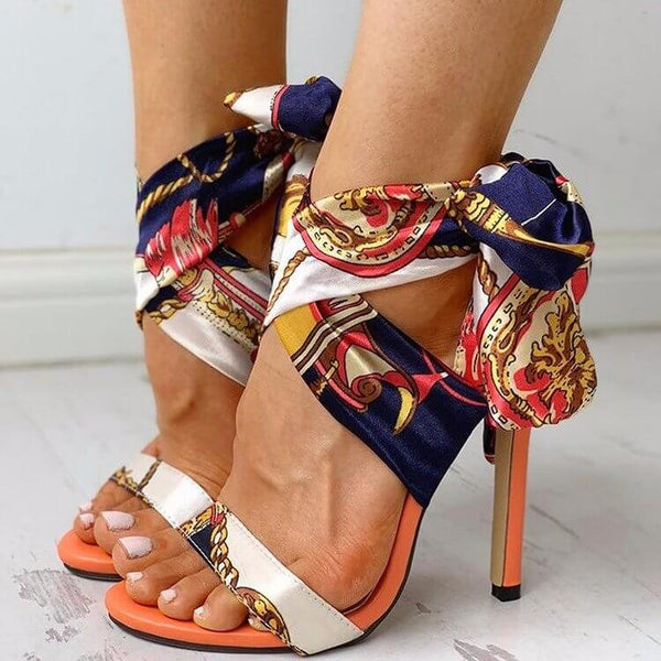 Multicolor Ribbon Strap High Heel Sandals