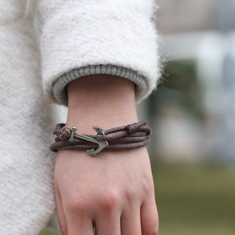 Popular Anchor Decorate Leather Bracelet