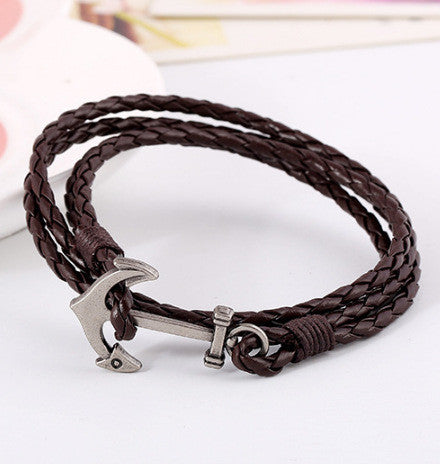 Fashion Anchor Leather Multilayer Bracelet