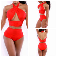 Halter Wrap Bandage High Waist Two Pieces Swimwear