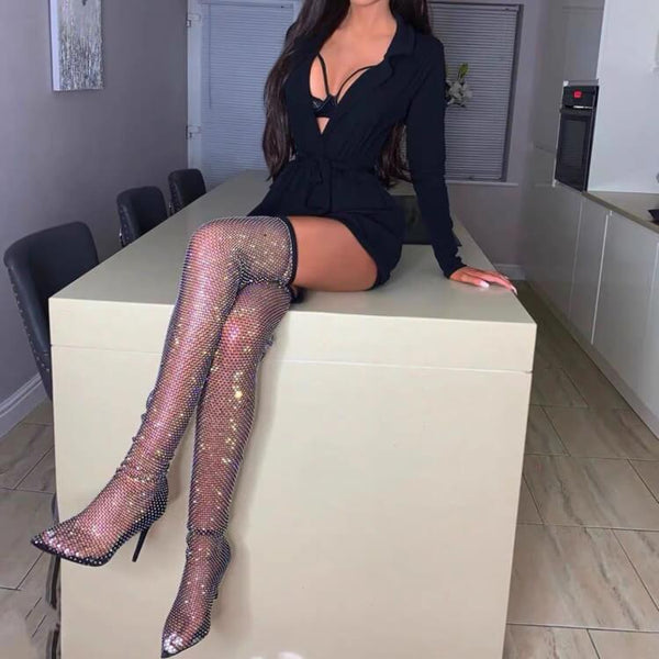 Black Cutout Mesh Rhinestone Point Toe Over Knee Boots