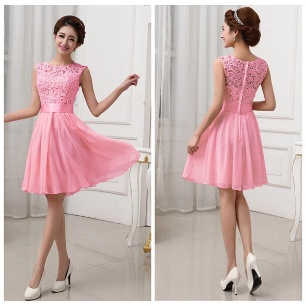Hollow Out Pure Color Lace Chiffon Patchwork Knee-length Party Dress
