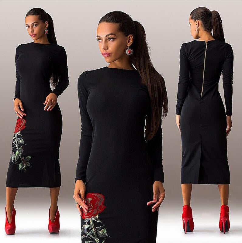 Rose Print Long Sleeve Back Zipper Bodycon Long Dress