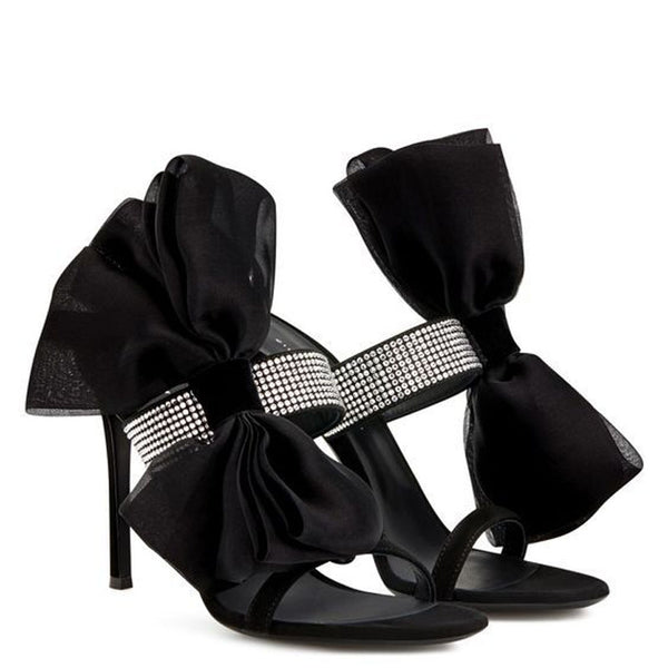 Black Bow Suede Rhinestone High Heel Sandals