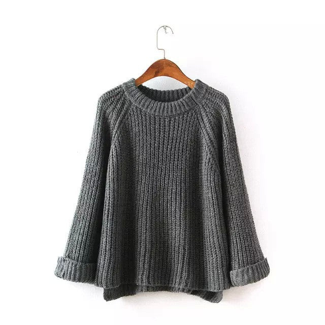 Knitting Bell Sleeve Thick Sweater