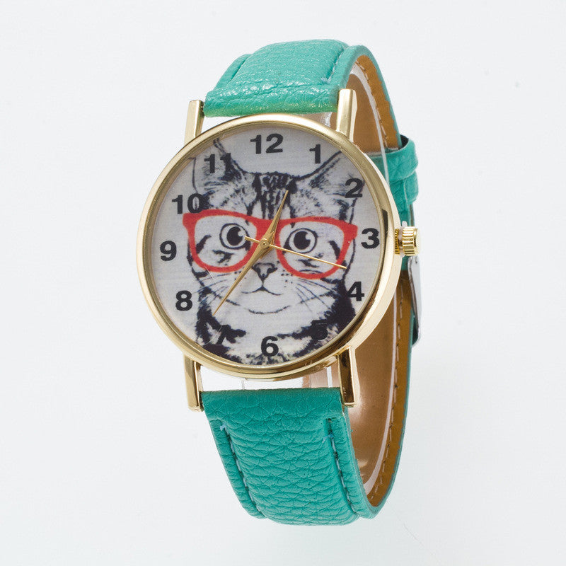 Glasses Cat Face Dial PU Watch