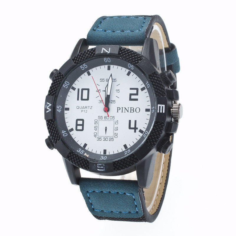 Round Dial Scale Digital Canvas Leather Fashion Watch