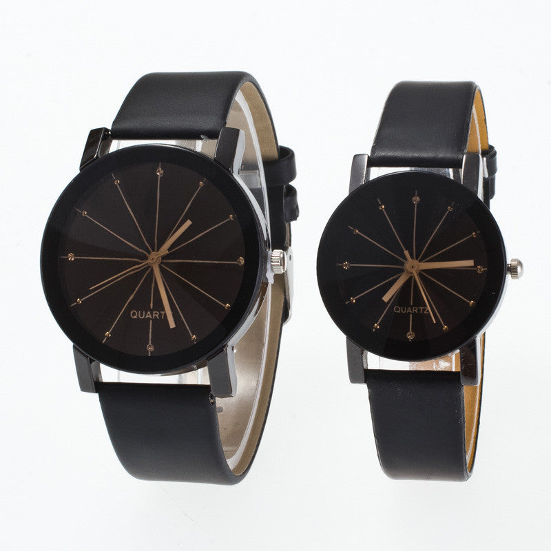 Black Round Dial Crystal Couple Watch