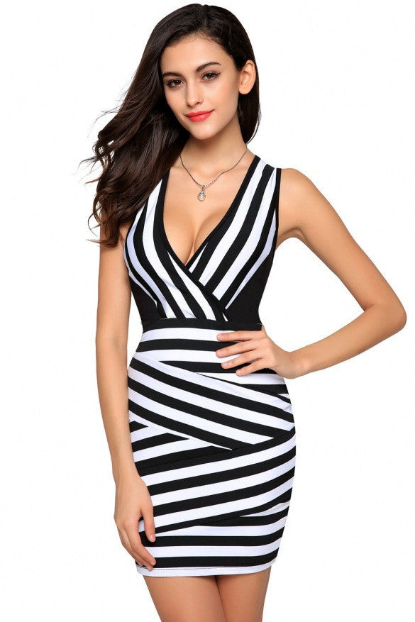 Sexy  Deep V Sleeveless Black and white striped slim Dress