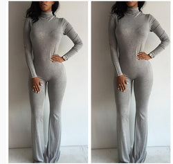 High Neck Long Sleeve Flared Leg Slim Long Jumpsuit