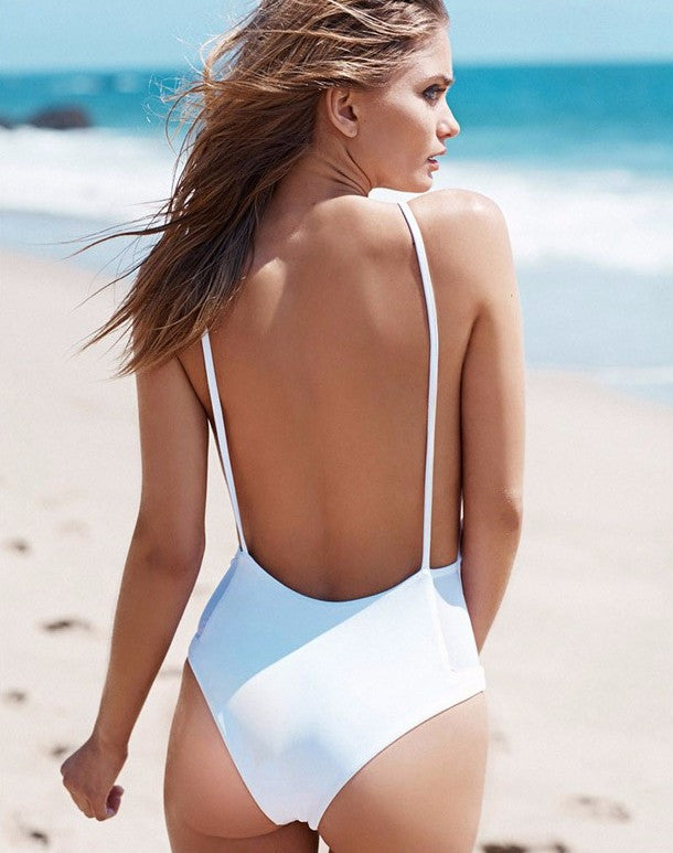 Spaghetti Straps Backless Patchwork One Piece Swimwear