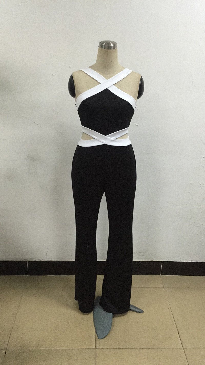 Sexy Contrast Color Bandage Flared Leg Long Jumpsuit