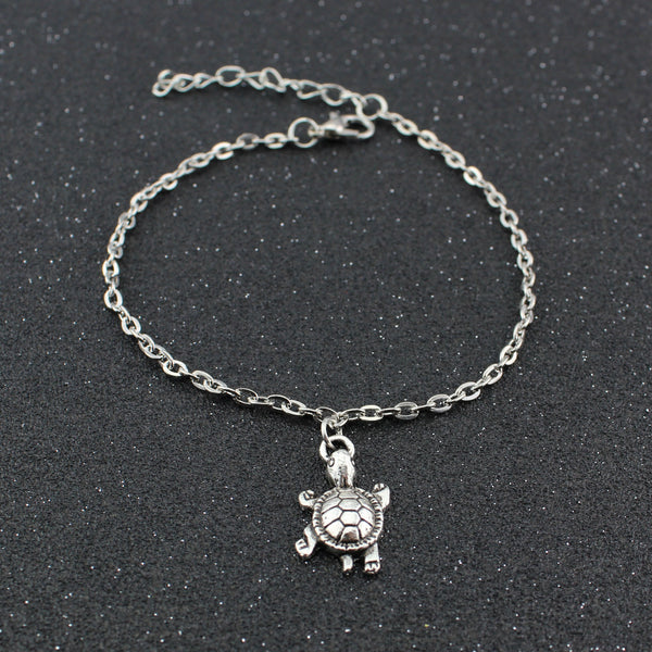 Cute Little Turtle Pendant Silver Anklet